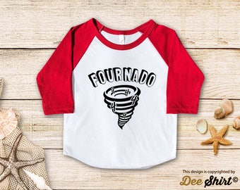 Fourth Birthday Shirt; 4th Birthday T-Shirt; Fournado; Four Year Old Kids Tee; Toddler 4 B-day Outfit; Cute Gift Birthday Boy Girl