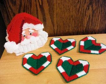 Plastic Canvas Coaster Set, Santa, Christmas Gift, Needlepoint Coasters, Handmade Coasters, Christmas Decor, Kitchen Decor, Holiday Gift