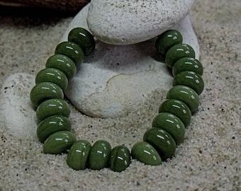 Olive, Artisan Lampwork Glass Beads, SRA, UK