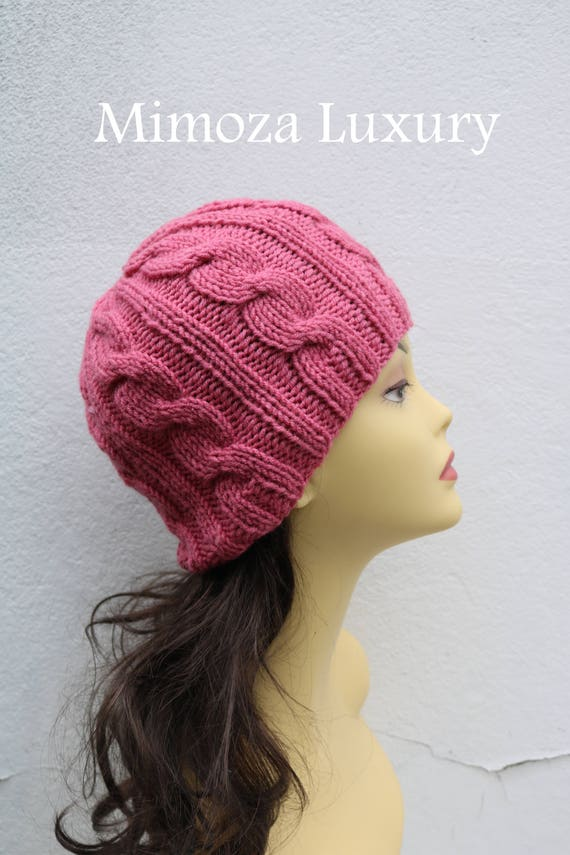 Rose women's Beanie hat, Hand Knitted Hat in rose pink beanie hat, knitted cap, knitted men's, women's beanie, winter beanie, rose ski hat