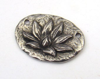 Lotus 2 hole pendant, Green Girl Studios, lead free pewter, 28mm component link