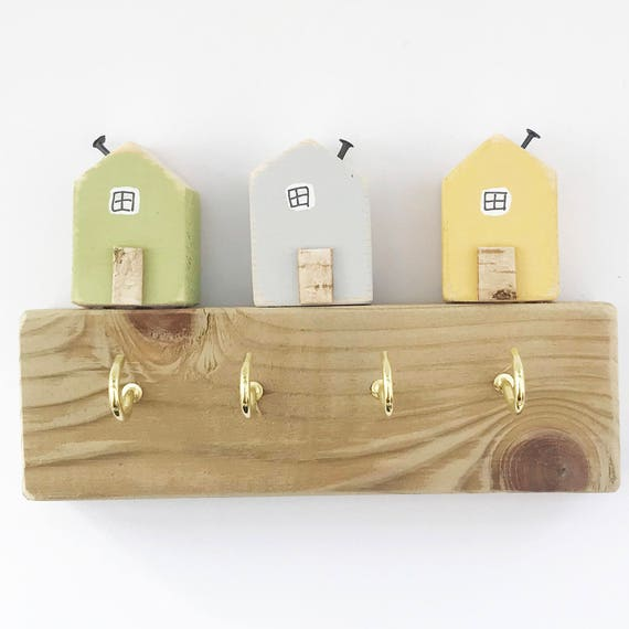 Little House Key Hooks Miniature Houses Wood Key Rack