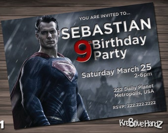 Batman vs Superman Birthday Party Invitation customized printable invite for boys or girl of any age + Free Thank You Card