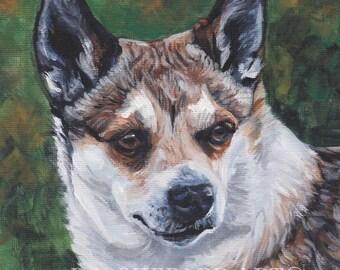 "Norwegian LUNDEHUND dog art PORTRAIT print of LA Shepard painting 12x12"""
