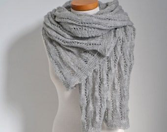 Lace knitted shawl, grey, gray,  N360