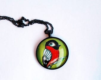 "Necklace with print of red/black bird ""Dompap"" (digital painting by Susann Brox Nilsen). Lowbrow, illustration, gift for her. Nickel-free."