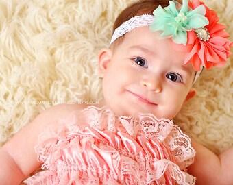 Mint and Coral baby headband, newborn headband, toddler headband, newborn photography prop