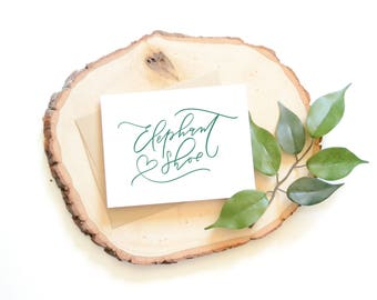 Elephant Shoe I Love You card . Hand lettered card . heart . modern calligraphy . anniversary card . love . best friend . just because