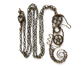 Seahorse Necklace - Seahorse Jewelry - Steampunk Necklace - Nautical Necklace - Antique Brass - Wire Work - Copper Wire Jewelry