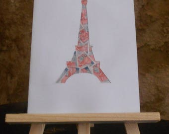 Eiffel Tower card stamp print