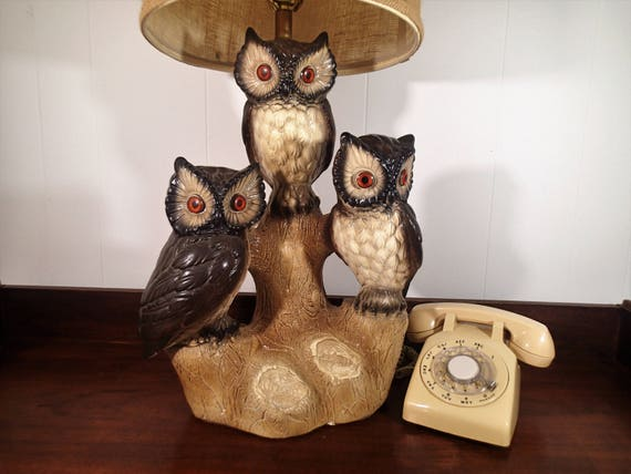 Kitsch owl table lamp 3 owls large plaster chalkware lamp kitsch owl table lamp 3 owls large plaster chalkware lamp shade not included vintage kitschy rustic woodland owl decor gift for bird lover aloadofball Image collections