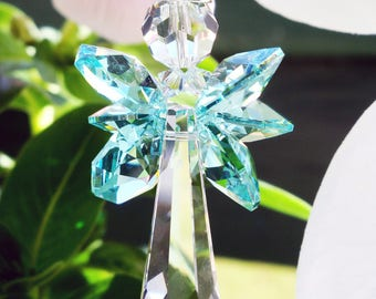 Crystal Suncatcher, Swarovski Crystal Angel Sun Catcher, Hanging Crystals, Gifts for Her, Prism Suncatcher