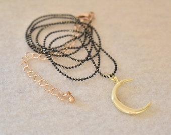 Gold Crescent Moon Necklace.
