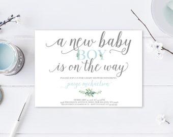 Baby Shower Invitation, Blue Baby Shower Invitation, Boy Baby Shower Invitation, Printable Baby Shower Invite, Trendy Printables [362]