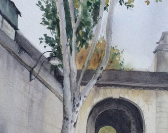 Tunnel Vision and Tree in Paris, France-Original Watercolor painting