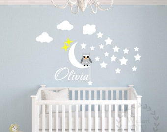 Nursery wall decal Owl wall decal Name wall decal Owl and name wall sticker Moon and stars wall decal Kid's name wall sticker