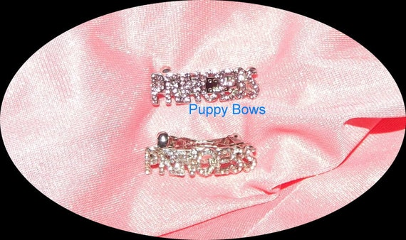 Puppy Bows ~PRINCESS style 48  rhinestone dog bow barrette PINK tiara ~USA seller