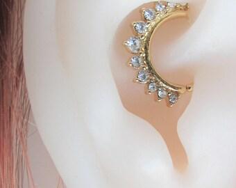 Golden Daith Piercing Brilliant Cz's Bendable Ring..16g..8mm inside diameter
