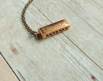 Vintage Harmonica Necklace Music Jewelry