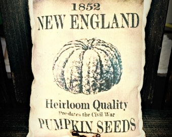 Vintage seed packet | Primitive Feedsack print | Rustic decor | Seed Packet pillow | Autumn Decor | Pumpkin Seed packet | Farmhouse decor