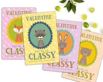 Printable Kids Valentine Cards // Printable Classroom Valentines // Animal Valentines // School Valentines // Digital Cards // The Clarissa
