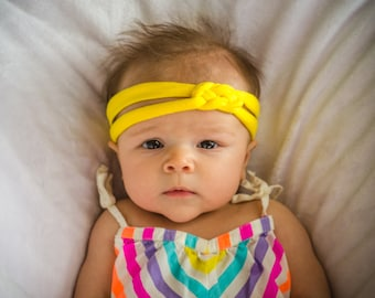 Sailor Knot Headband - Bright Yellow Cotton Jersey Knit Sailor Knot Handmade Headband - Great for Baby, Infant, Toddler, or Child!