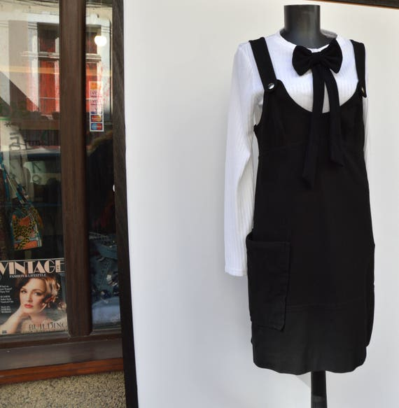 black SONIA dress RYKIEL sonIa 1990 pinafore dress rykiel designer vintage 8qdq4zxw