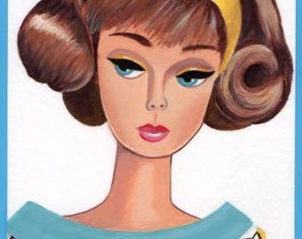 Original Acrylic Collectable Postcard size Painting Vintage Retro Silkstone Brunette Barbie girl doll size 6 x 4 inches