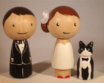 New Pet Topper Wedding Topper with One  Pet Custom Kokeshi Wedding Cake Topper Kokeshi Doll Wedding Toppers Custom Cake Toppers
