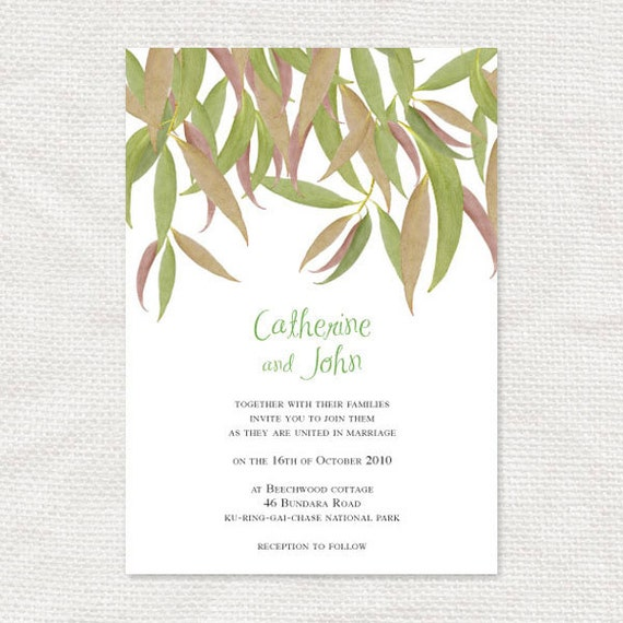 Australian bush poetry wedding invitations