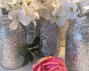 Silver Glitter Mason Jar ~  Birthday Baby Bridal Shower ~  Centerpiece for Wedding  ~ Home Decoration Hostess Gift Idea ~ Pick Your Size
