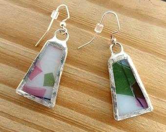 Stained Glass Earrings, Confetti Glass, Geometric Earrings, Glass Jewelry, Dangle Earrings, Drop Earrings, Pink and Green Earrings, Boho