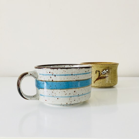 Vintage Speckled Stoneware Coffee Mug Large Ceramic Blue Striped Coffee Cup Boho Soup Bowls