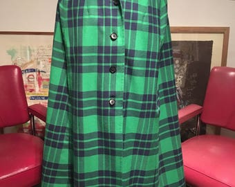 Green and Navy Wool Cape reversible with Green Mac M/L