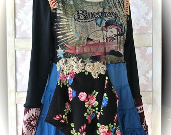 Cowgirl Bluegrass Beauty CollageTop Layered Raggedy Top Size  Med/Large