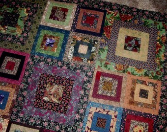 Quilt Top to Finish Scrappy Large and Small Log Cabin Blocks 52 x 52 inches