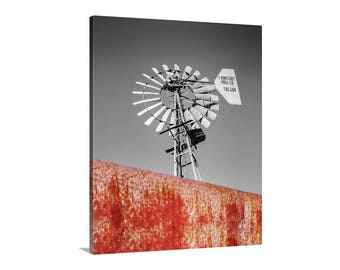 Windmill Wall Decor, Windmill Art, Farm Wall Art, Windmill Picture, Rustic Art, Home Decor, Canvas Photo, Farm Country, Ronstadt Windmill