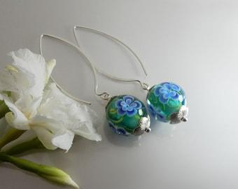 Floral Lampwork Earrings - Lampwork Glass Earrings- Handmade Jewelry - Earrings Handmade