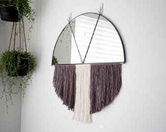 Large Stained Glass Half Circle Mirror with Gray & Natural Fiber Fringe and Brass