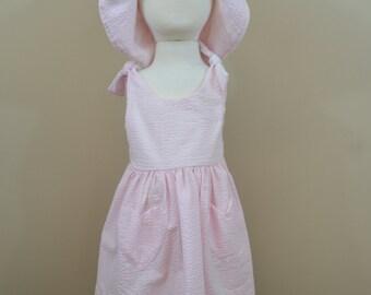 Seersucker Tie shoulder Dress