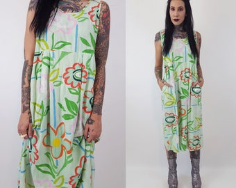 80's All Over Print Pastel Floral Midi Dress Small - Green Painterly Funky Spring Sundress W/ Pockets - Seafoam Sleeveless Floral Midi Dress