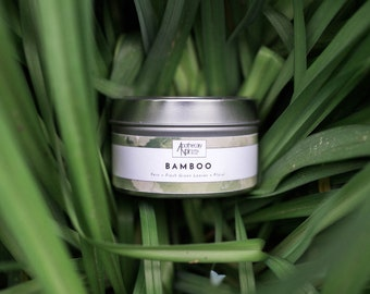 Bamboo Soy Travel Candle | BAMBOO | Travel Candle | Soy Wax | Premium Container Candle | Fern + Fresh Green Leaves + Floral