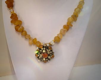 Agate necklace with vintage brooch