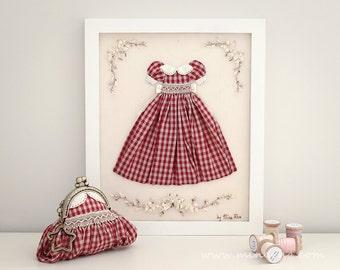 Hand Embroidered Shabby Style Chic Wall decor Miniature Dress Shabby Cottage Chic Home Decor Fiber Art Room Decor by MinaRha