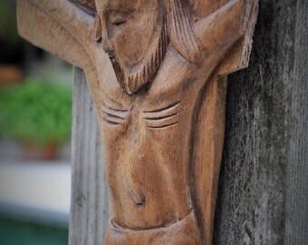 "Vintage Crucifix, Hand Carved Olive Wood,  15"" Wall Cross, Antique Religious Art Jesus Crucifixion Santo Christian Icon Minimalist Primitive"