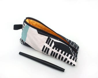 Triangle pencil case for men, Pen bag for women, Trousse, Blue and black pencil case, Modern pencil pouch, Fabric pen holder, School supply