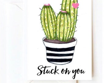 Stuck on you Valentines Day A5 Card