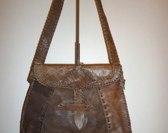 50% OFF Beautiful Brown/Taupe Leather Vintage Shoulder Bag