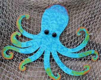 Octopus Art Metal Wall art Sealife Beach House Wall Art Turquoise Recycled Metal Wall Hanging Custom Requests 13 x 15