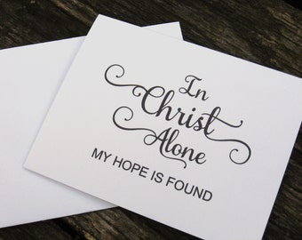 In Christ Alone Stationery - Religious Stationery - Christian Hymn Note Cards